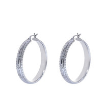 14K White Gold Diamond Cut Hoop Earrings - $543.51