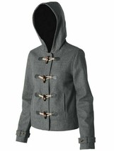 Nixon Stella Jacket Iron Heather S1477554 Wool Hooded Toggle Coat Sz M - $39.60