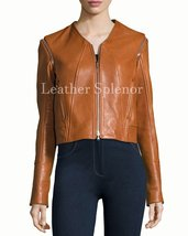 Collarless Women Cropped Leather Jacket