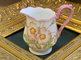 VINTAGE ROYAL ABLERT WILD ROSE CROWN CHINA CREAMER PITCHER PINK FLORAL E... - $19.35