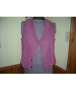 Womens Vest Rose Color Suede Leather With Fringe Snap Up Front (L) By Ex... - $75.50
