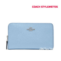 COACH MEDIUM ZIP AROUND WALLET IN LEATHER SV/SLATE STYLE#87735 - $129.00