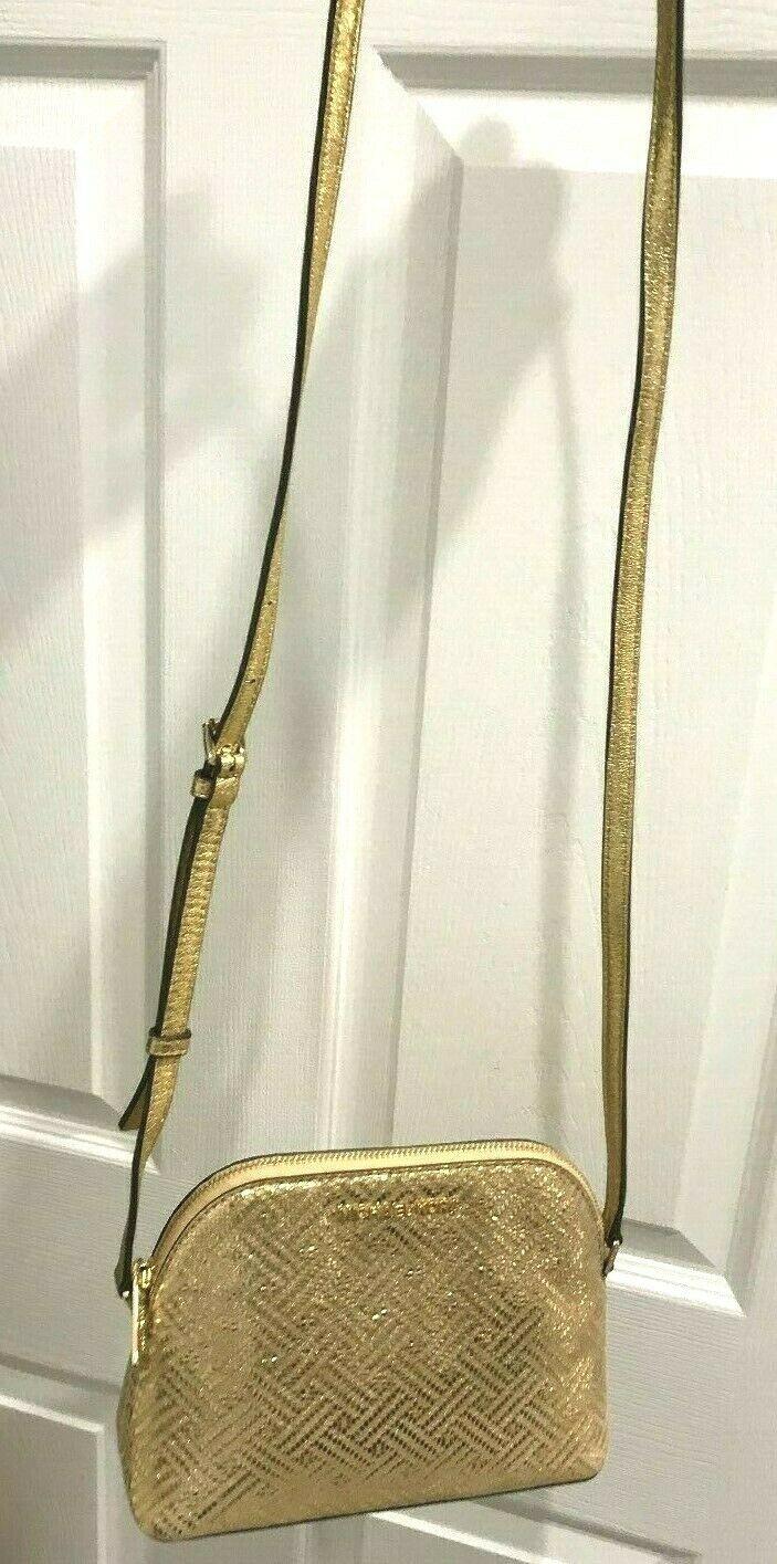 Michael Kors Adele Medium Dome Crossbody Bag in Metallic Gold Leather $268 NWT