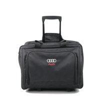 Audi Car Stitched Spell Out Logo Handled Rolling Briefcase Bag Carry On ... - $89.05