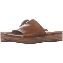Steve Madden Genca Platform Slide Sandals 659, Tan Leather, 7.5 US - $36.47