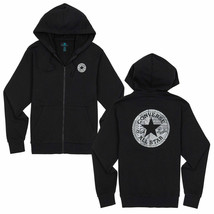 Converse Mens Chuck Patch Graphic Front Zipped Hoodie Black 10017676-A01... - $38.97