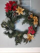 Vintage Christmas Wreath FAUX POINSETTIA 17 inch - $34.08