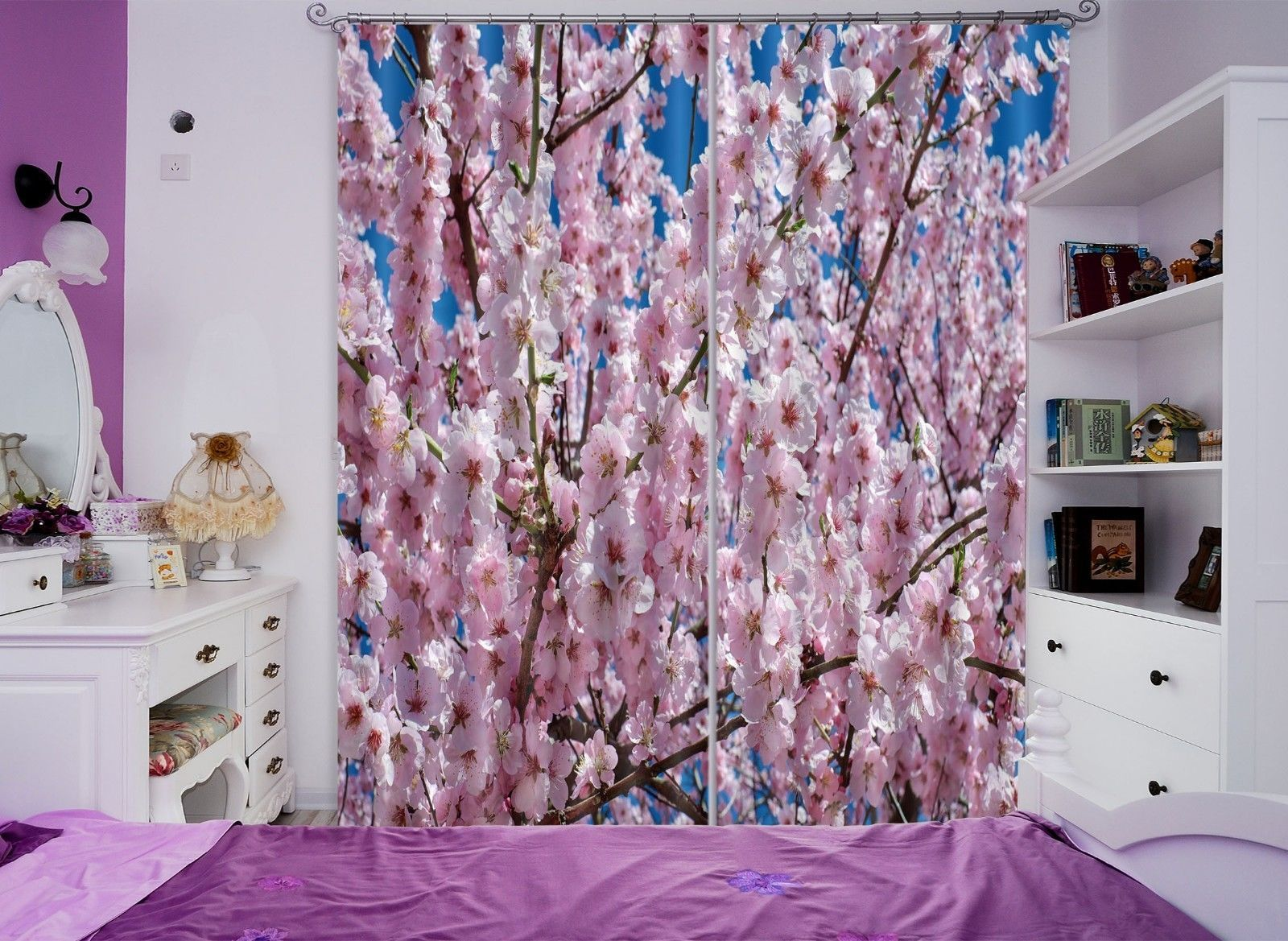 Primary image for 3D Cherry Blossoms 031 Blockout Photo Curtain Print Curtains Drapes US Lemon