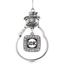 Inspired Silver 10k Runners Classic Snowman Holiday Christmas Tree Ornament With - $14.69