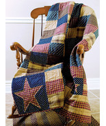 Americana country primitive liberty stars Patriotic Patch Quilted Throw ... - $84.95