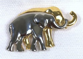 Liz Claiborne Silver & Gold Tone Elephants Pin Figural Brooch Trunk Up Good Luck - $4.89