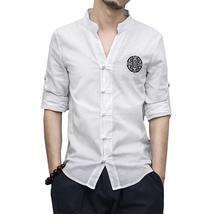 New Kung Fu Shirt Spring Casual Linen Men Shirt Fashion Print Long Sleev... - $35.94