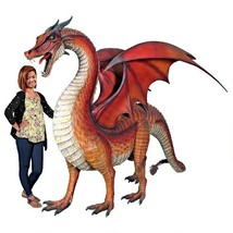Life Size Large Gothic Winged Red Dragon Sculpture Medieval Statue 108.5... - $4,992.00