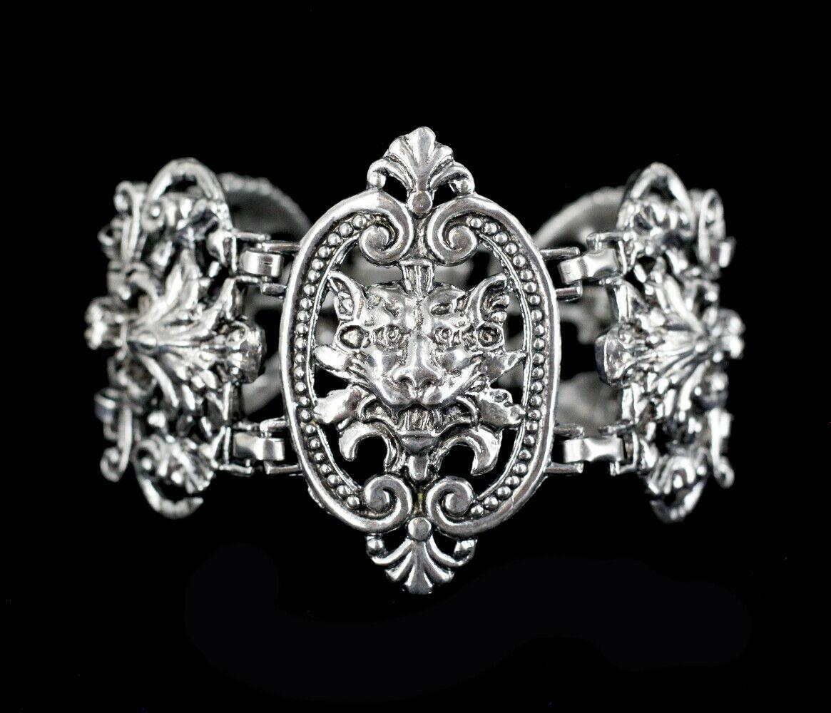 """Vintage Victorian Revival Gothic Gargoyal Lion Ornate Heavy Link Bracelet 7.5"""""""