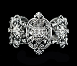 Vintage Victorian Revival Gothic Gargoyal Lion Ornate Heavy Link Bracele... - $179.99