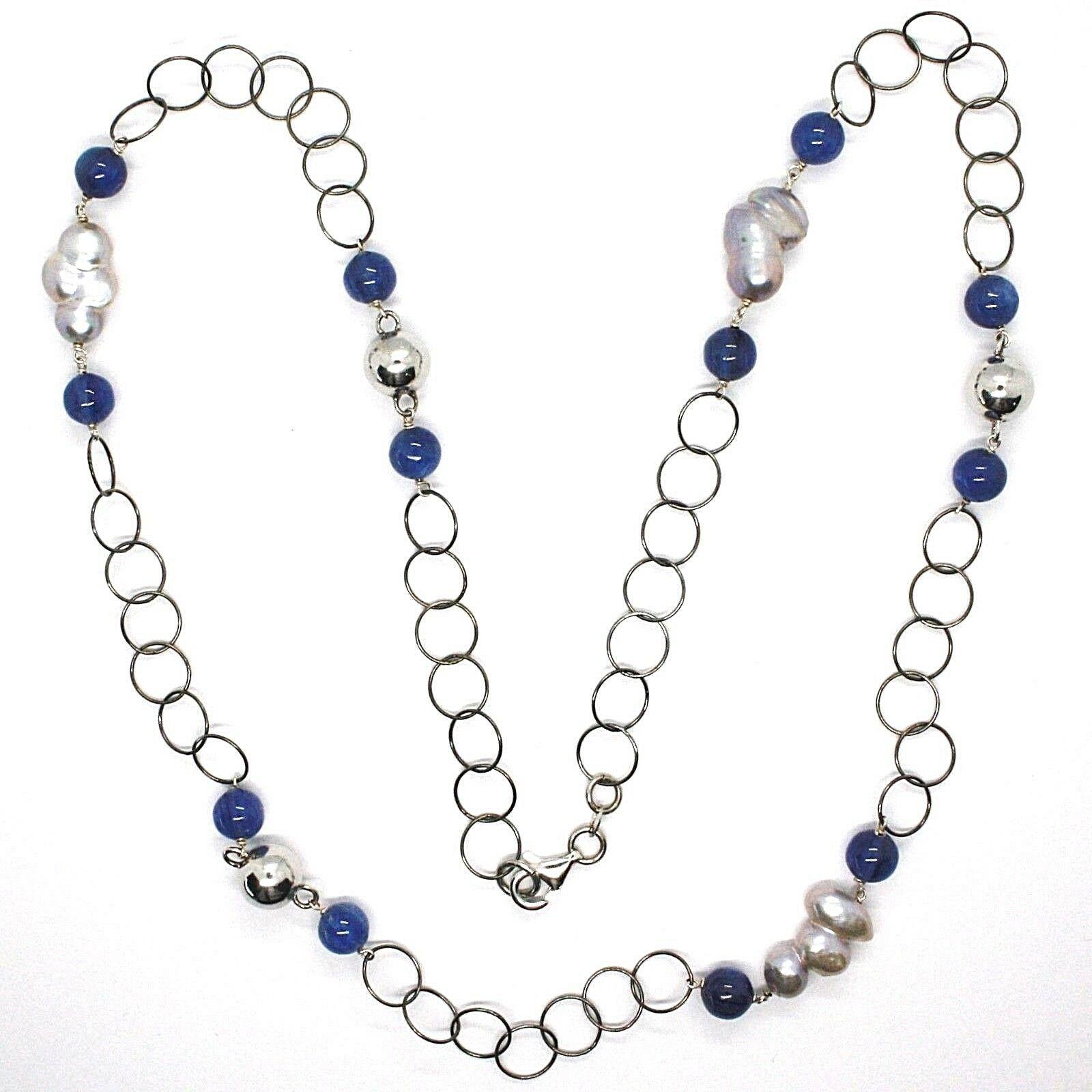 Collier Argent 925, Cyanite Bleu Rondes, Perles Style Baroque Grises, 72 CM
