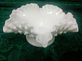 Vintage Pedestal Fenton White Hobnail Milk Glass Bowl with Ruffled Crimped Edge  - $8.99