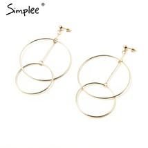 Simplee Classic large round drop earrings women Gold alloy dangle earrin... - $14.99