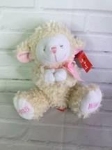 Gitzy Bless Me Lamb Sheep Beige Cream White Pink Bow Plush Stuffed Anima... - $39.59