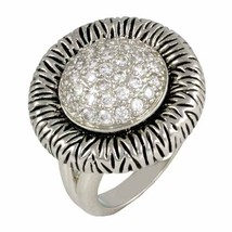 THE LOOK OF REAL ANTIQUE ROUND PAVE CZ RHODIUM  RING-BRIDAL - $29.99
