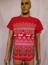 Budweiser Bud Beer Ugly Christmas Tee Shirt Red Xmas Size Medium - $16.90