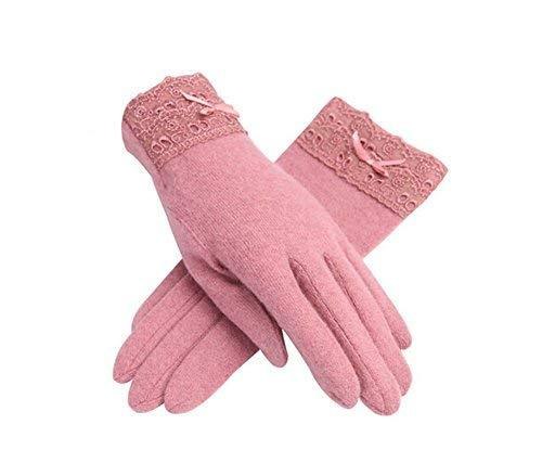 PANDA SUPERSTORE Elegant Pink Warm Ski Gloves for Women Lace Wool Gloves