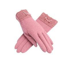 PANDA SUPERSTORE Elegant Pink Warm Ski Gloves for Women Lace Wool Gloves