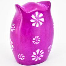 Vaneal Group Hand Carved Kisii Soapstone Fuchsia Pink Owl Figurine Kenya image 3