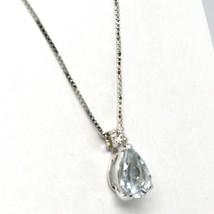 18K WHITE GOLD NECKLACE AQUAMARINE 0.60 DROP CUT & DIAMOND, PENDANT & CHAIN image 2