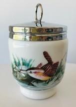 """Royal Worcester Porcelain Egg Coddler Birds Design Metal Screw Top 4"""" Ta... - $19.34"""