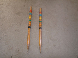 2 Vintage Wood Croquet medium stakes replacement parts 22 1/2'' high ant... - $24.99
