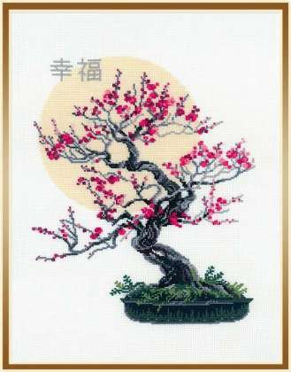 Primary image for Cross Stitch Kit Riolis Bonsai Kobai Wish of Well Being