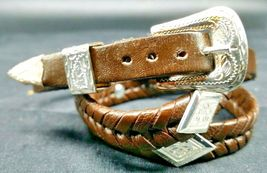 BROWN HATBAND Braided LEATHER with SILVER DIAMOND CONCHOS and BUCKLE Hat... - $24.13