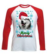 Alaskan Malamute Santa snow P1 - Red LONG SLEEVES COTTON TSHIRT - $19.64