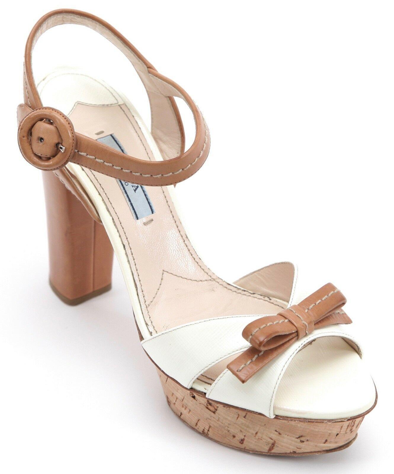 75b6f14460 PRADA Platform Sandal White Saffiano Leather Natural Cork Peep Toe Sz 37.5  - $218.50