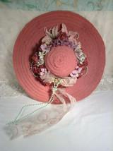 Decorative Vintage Early 1990's Handmade Ladies Vanity Wide Brim Dusty P... - $50.00