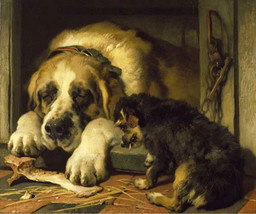 Sir Edward Lanseer, Doubtful Crumbs, 1858, Dog, Puppy, Canine art print, animal  - $23.99