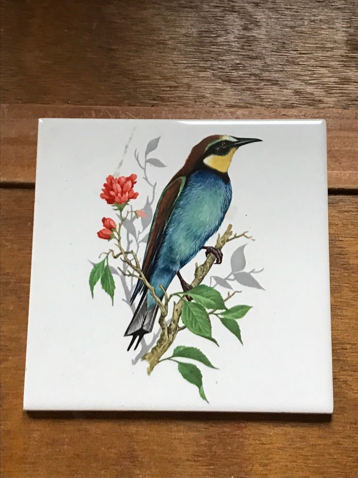 Vintage Made in Germany Blue & Yellow Bird Perched on Branch w Red Flower Tile