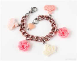 Rose and Crown Charm Bracelet, Sweet Lolita, Kawaii Jewelry, Larme Kei, Gatumi - $17.00
