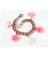 Rose and Crown Charm Bracelet, Sweet Lolita, Kawaii Jewelry, Larme Kei, ... - $17.00