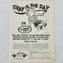 Vtg Budget Rent A Car 1967 Chevrolet Camaro Vintage Print Ad McKissack A... - $9.47