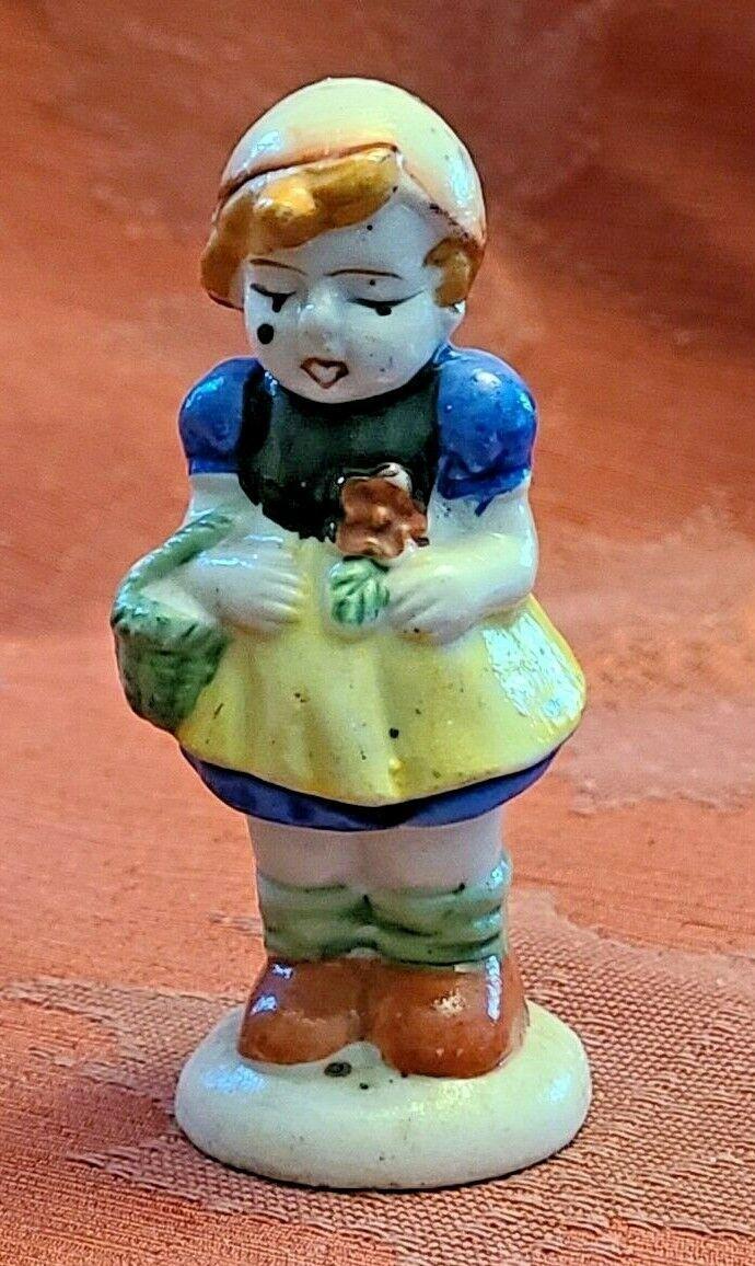 "Vintage Girl with Basket Porcelain Figurine Made in Occupied Japan 3"""