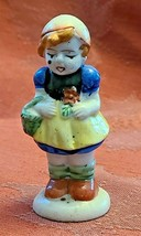 Vintage Girl with Basket Porcelain Figurine Made in Occupied Japan 3""