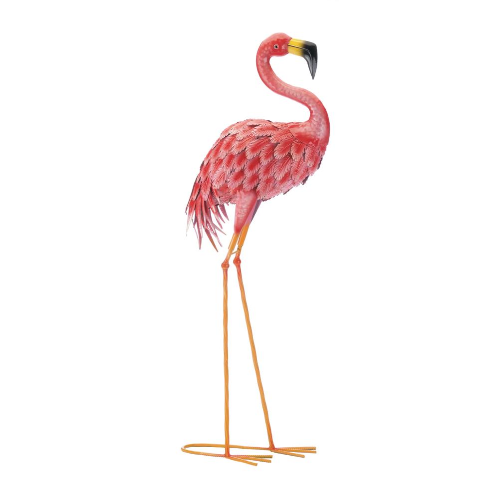 Bright Pink Standing Flamingo Garden Decor Metal 34.5 inches high - $46.95
