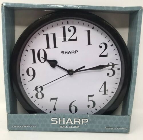 "Primary image for SHARP 9 5/8"" Black  Wall Clock"