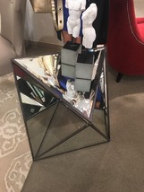 "NEW 27"" MODERN GEOMETRIC PRISM STYLE MIRROR METAL END ACCENT TABLE BEVEL... - $404.80"