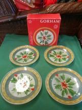 "NIB- Great GORHAM ""Festive Holly"" Set of 4 Tidpit Plates 6"" - $14.44"