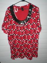 Lane Bryant ~ 100% Cotton Red Black & White Short Sleeve Top ~ Plus 22/24W - $13.27