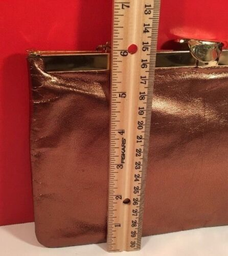 Block True Vintage Shiny Brass Color Leather Clutch/Evening/Bag Gold Hardware