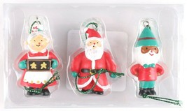 Wondershop Trend Trim 3ct Mini Wooden Mr + Mrs Santa Claus and Elf Ornaments NEW